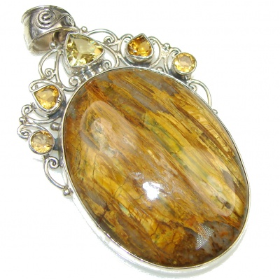 SunSet Glow! Brown Tigers Eye Sterling Silver Pendant
