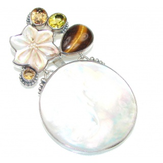 Large! Amazing Design! Blister Pearl Sterling Silver pendant