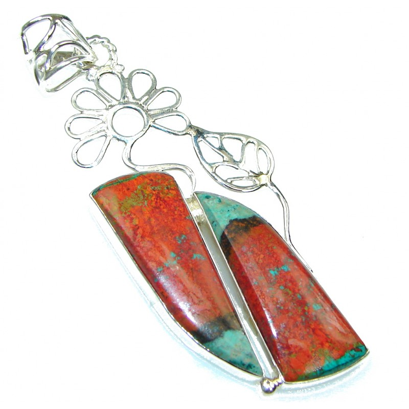 Big! Fashion Red Sonora Jasper Sterling Silver Pendant