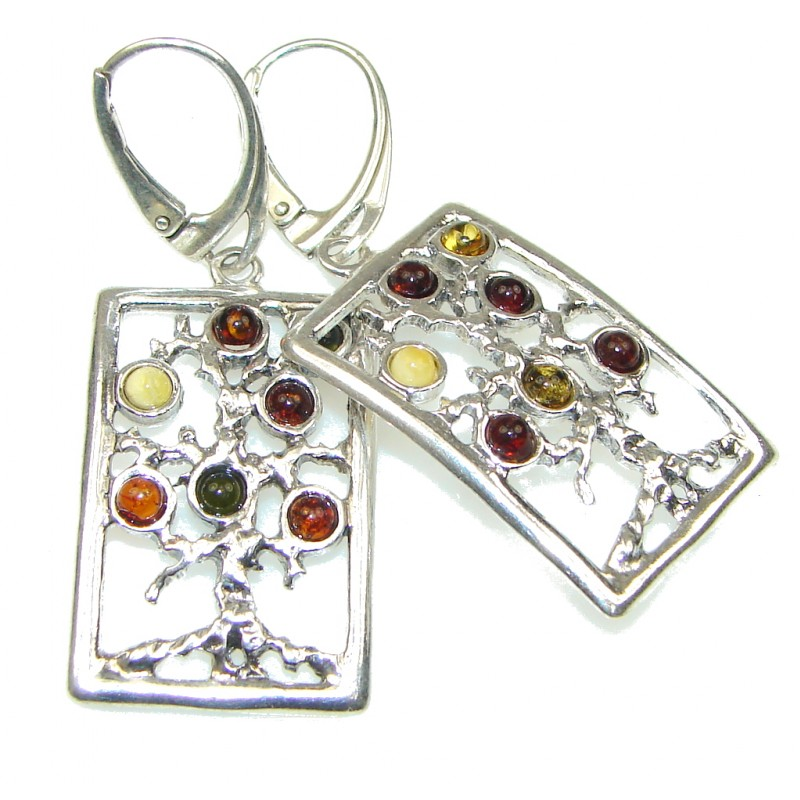 Family Tree! Baltic Polish Amber Sterling Silver earrings