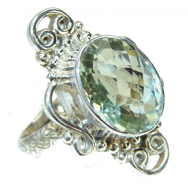 Delicate Green Amethyst Sterling Silver ring s. 8