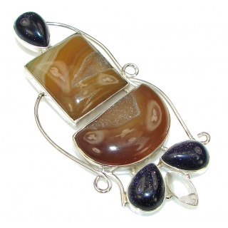 Big! Brown Secret! Agate Druzy & Blue SunSitara Sterling Silver Pendant