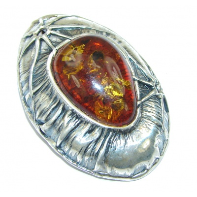Natural Beauty! Baltic Polish Amber Sterling Silver Pendant