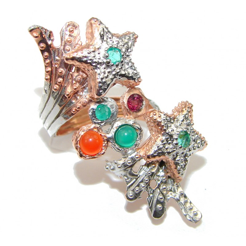 Big! Stunning! Shooting Stars! Agate, Rose Gold Plated Sterling Silver Ring s. 7 1/2