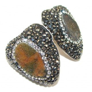 Turkish Style! Brown Druzy & White Topaz Sterling Silver Earrings