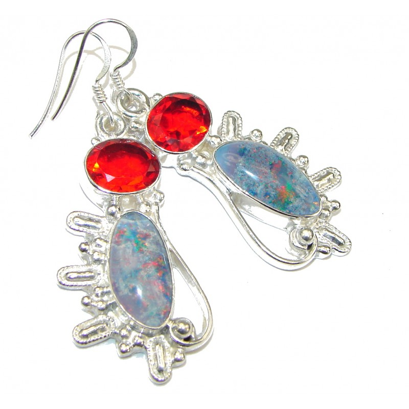 Amazing! Created Fire Opal & Red Quartz Sterling Silver earrings