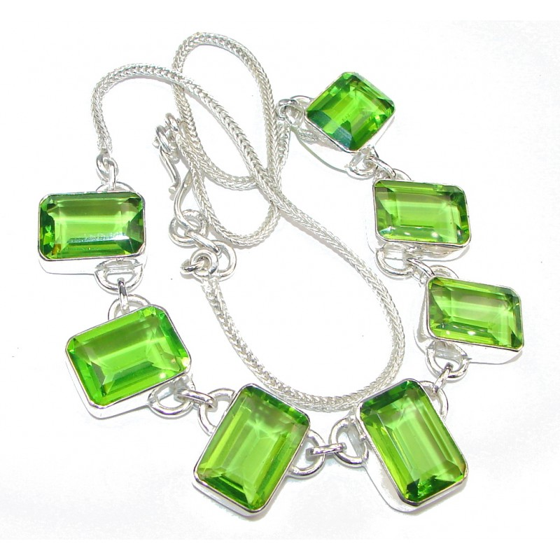 Fresh! Created Green Peridot Silver Overlay Necklace