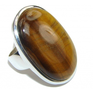 Secret Chamber! AAA Brown Tigers Eye Sterling Silver Ring s. 7 1/4