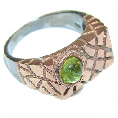 Italy Made! Genuine Green Peridot & Gold Plated Sterling Silver Ring s. 8 1/2