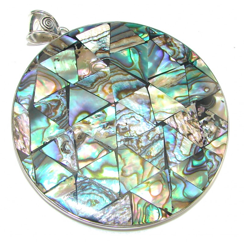 Big! Amazing Rainbow Abalone Sterling Silver Pendant