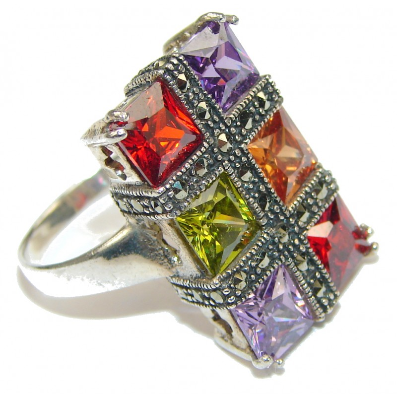 Beautiful Design! Multigem & Marcasite Sterling Silver Ring s. 9 1/2