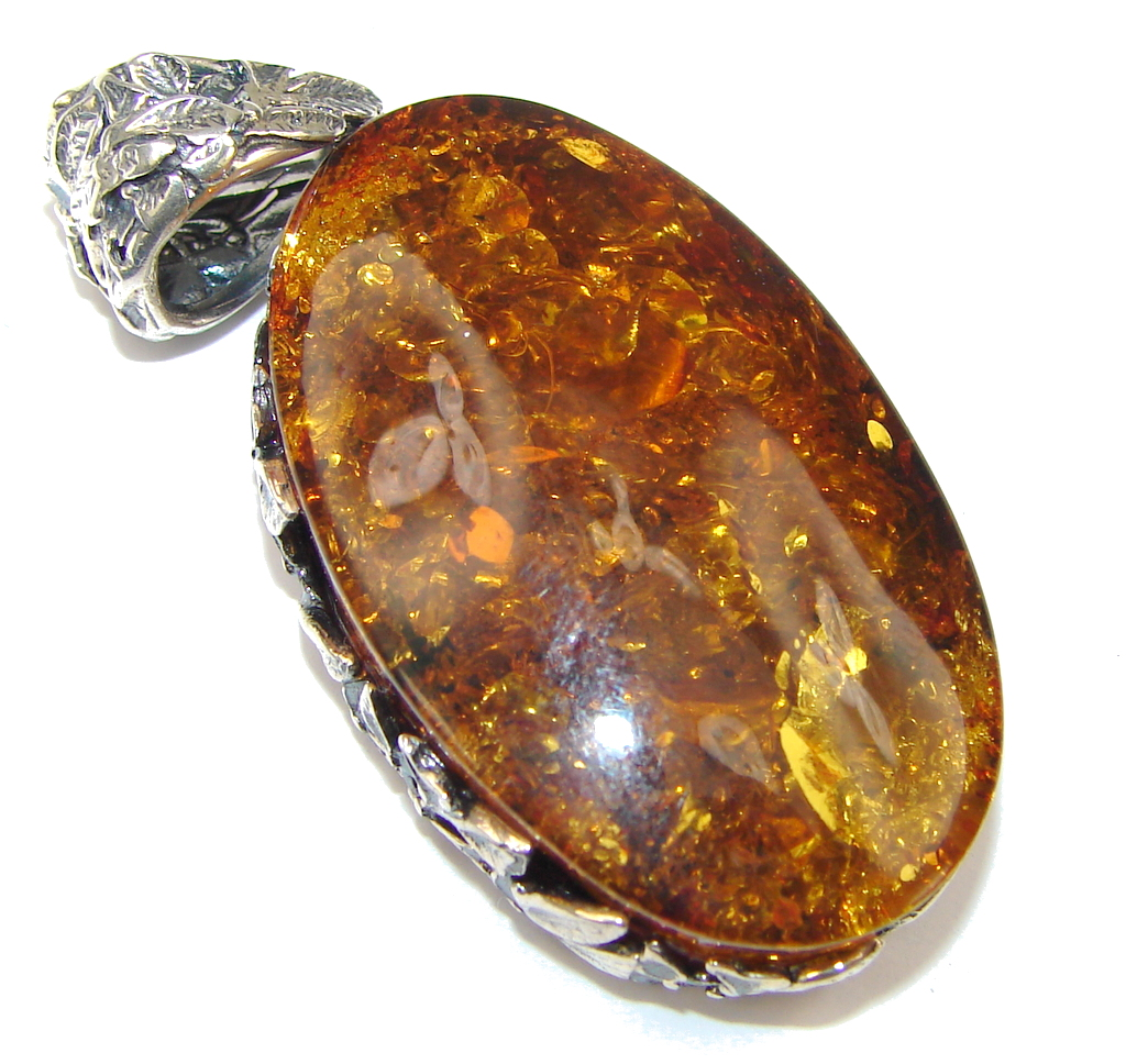 Genuine Baltic Polish Amber Sterling Silver Pendant 14