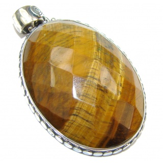 Simple Style! Vision Tigers Eye Sterling Silver Pendant