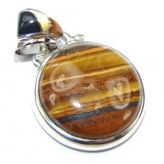 Petite! Brown Tigers Eye Sterling Silver Pendant