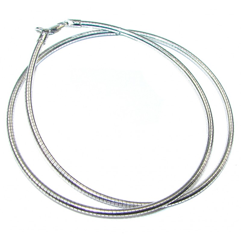 Round Omega Rhodium Plated Sterling Silver Chain 20'' long, 1.5 mm wide