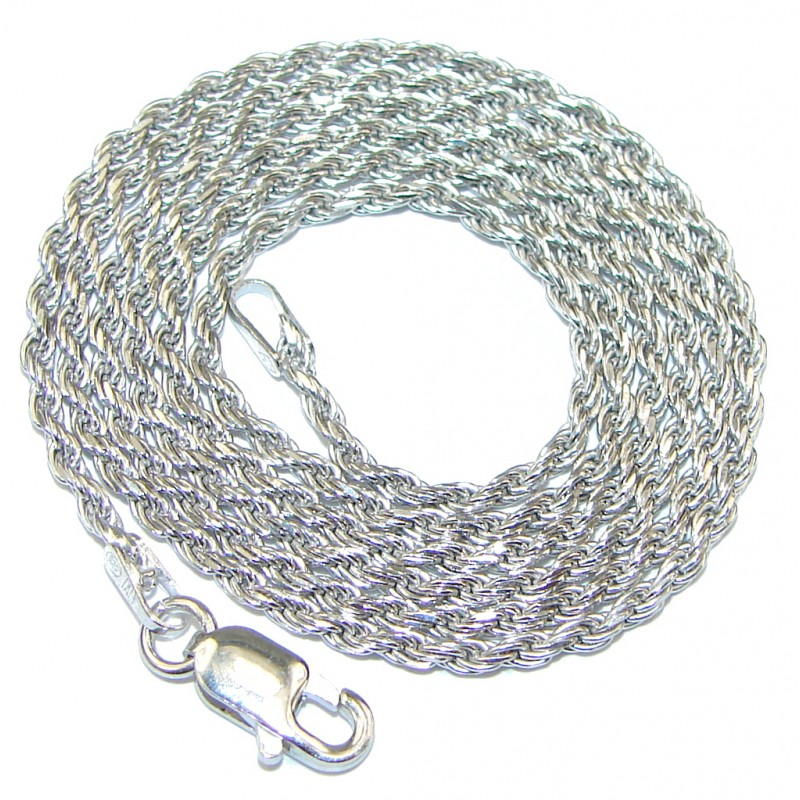 Rope Rhodium Plated Sterling Silver Chain 20'' long, 1.5 mm wide