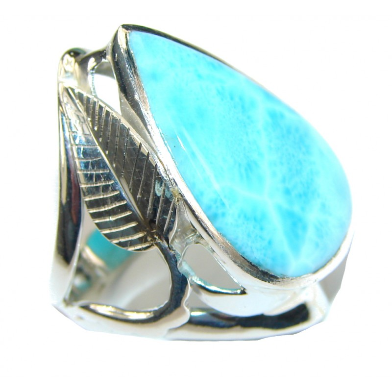 Tropical Glow! AAA Light Blue Larimar & Swiss Blue Topaz Sterling Silver Ring s. 7