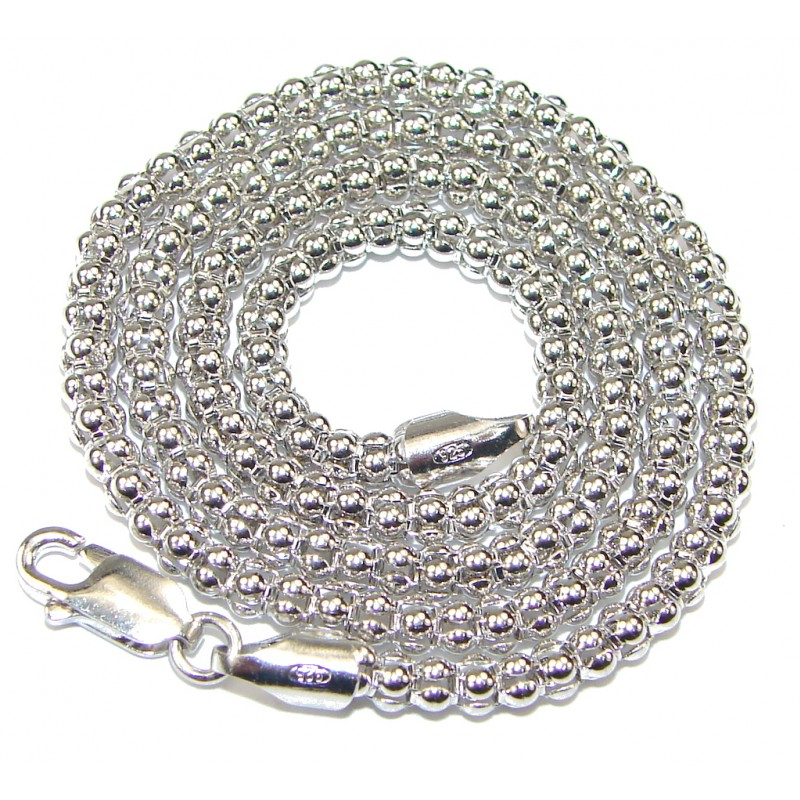 Coreana Rhodium Plated Sterling Silver Chain 16'' long, 2 mm wide