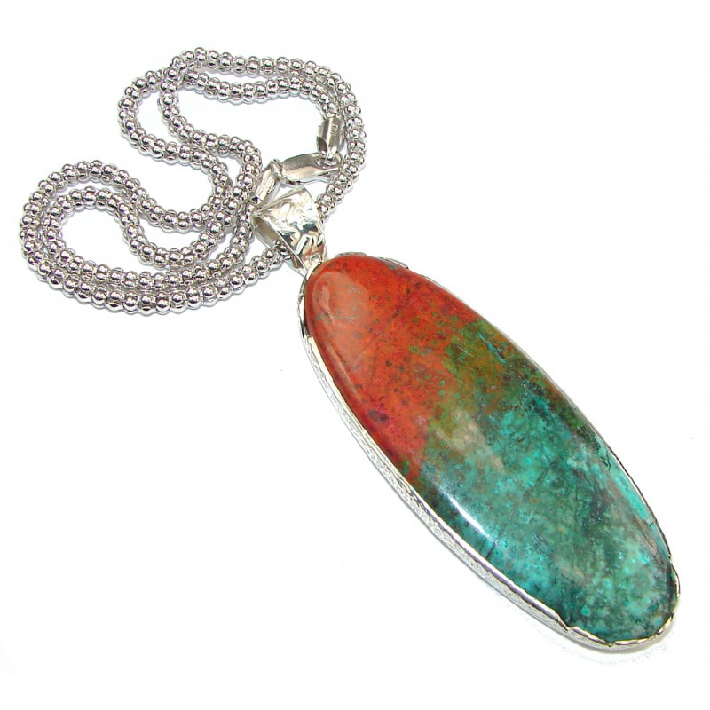 Natural Beauty! Red Sonora Jasper Sterling Silver Necklace