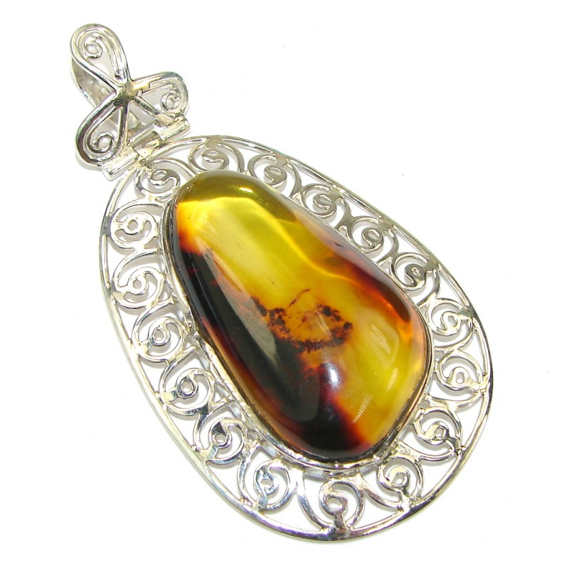 Big! Stunning Green AAA Polish Amber Sterling Silver Pendant