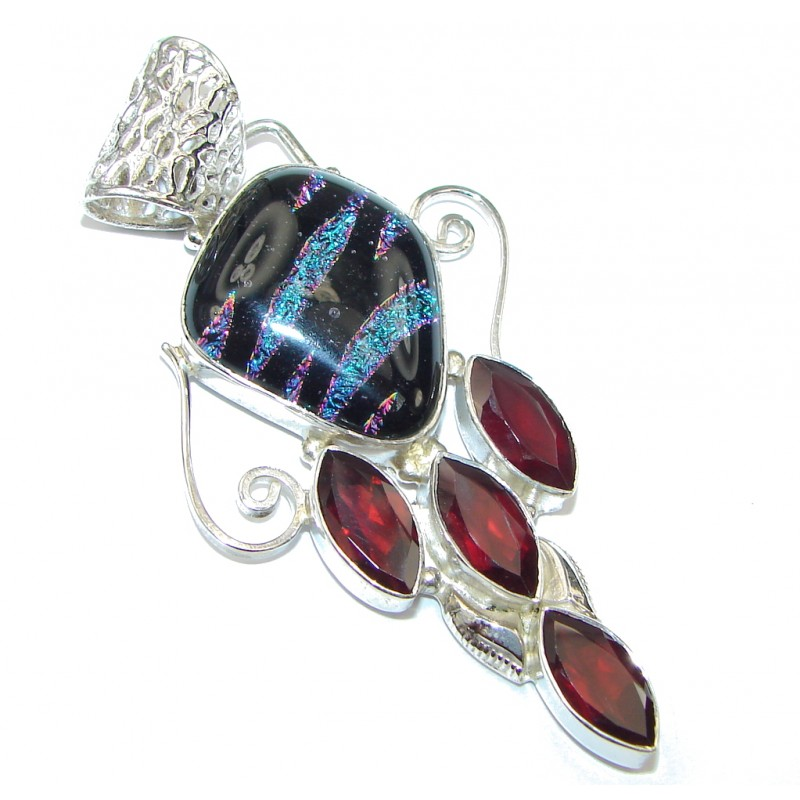 Beauty! Mexican Dichroid Glass Sterling Silver pendant