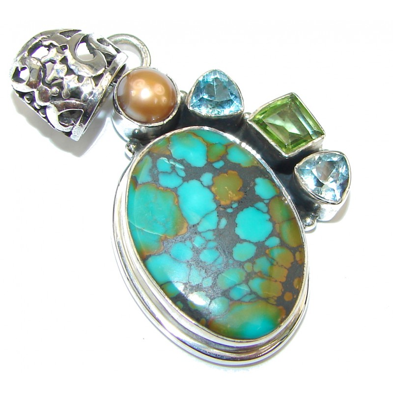 River Secret! Copper Turquoise Sterling Silver Pendant