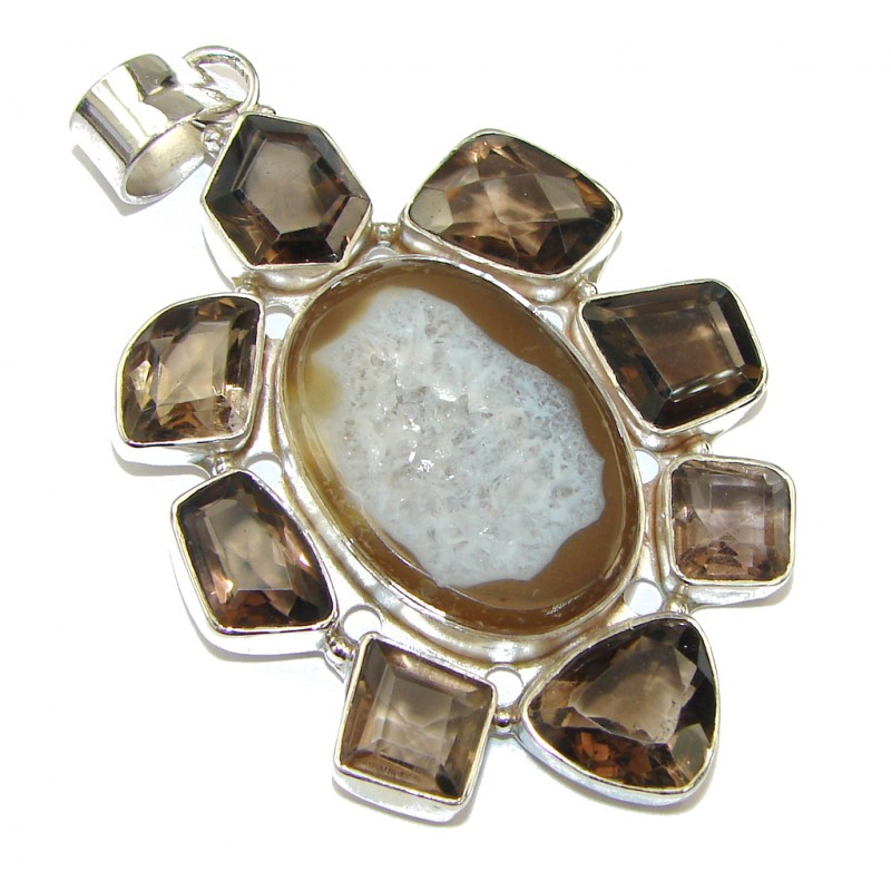 Duality In Brown! Agate Druzy Sterling Silver Pendant