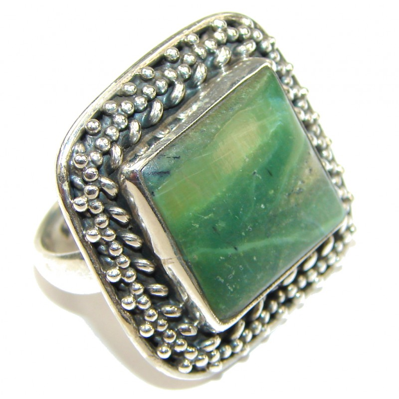 Green Secret! Pietersite Sterling Silver Ring s. 8 1/4