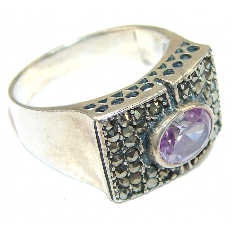 Amazing! Light Lilac Quartz & Marcasite Sterling Silver Ring s. 9 1/2