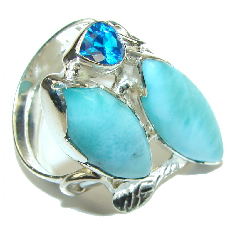 Tropical Glow! AAA Blue Larimar & London Blue Topaz Sterling Silver Ring s. 8 1/2
