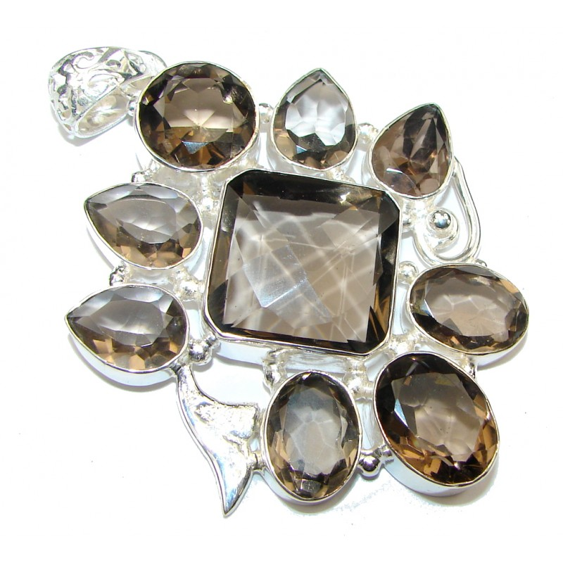 Big! Pale Beauty! Brown Smoky Topaz Sterling Silver Pendant