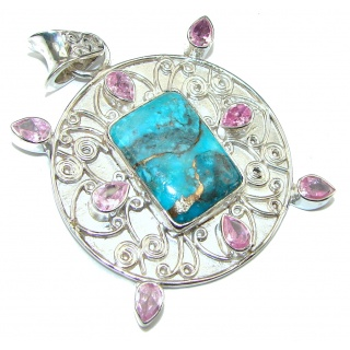 Mystic Sky! Copper Blue Turquoise Sterling Silver Pendant