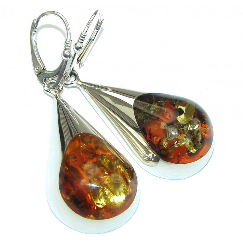Natural Beauty! Polish Baltic Amber Sterling Silver earrings