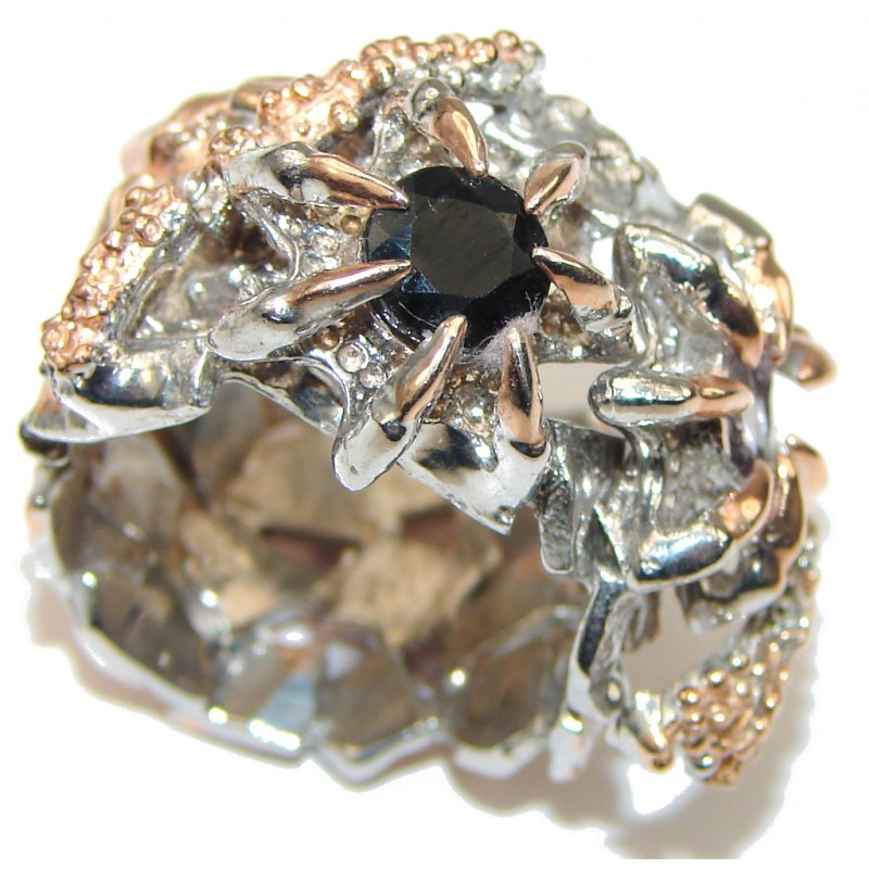 Gorgeous Design! Black Spinel, Rose Gold Plated Sterling Silver ring; 7 1/2
