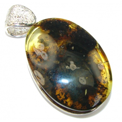 Giant! AAA Baltic Polish Amber, Gold Plated Sterling Silver Pendant