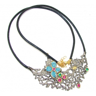 Stunning! Two Tones Multigem Gold Plated Sterling Silver necklace