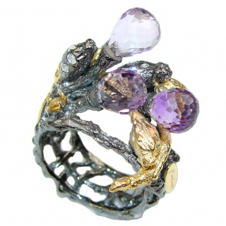 Monkey Amethyst Gold Plated Rhodium Plated Sterling Silver ring s. 6