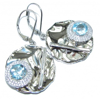 Ocean Breeze! AAA Swiss Blue Topaz & White Topaz Sterling Silver earrings