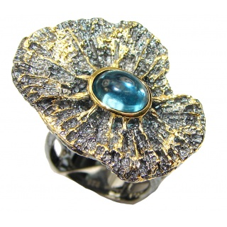 Floral Design Blue Topaz Gold Plated Sterling Silver Ring s. 6 adjustable