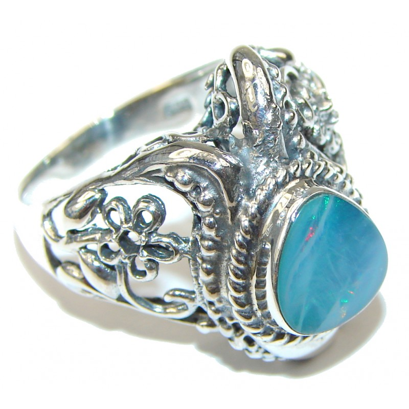 Secret! Created Blue Fire Opal Sterling Silver ring s. 8