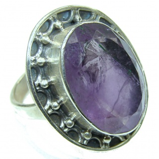 Simple Beauty! Purple Amethyst Sterling Silver Ring s. 8 1/4