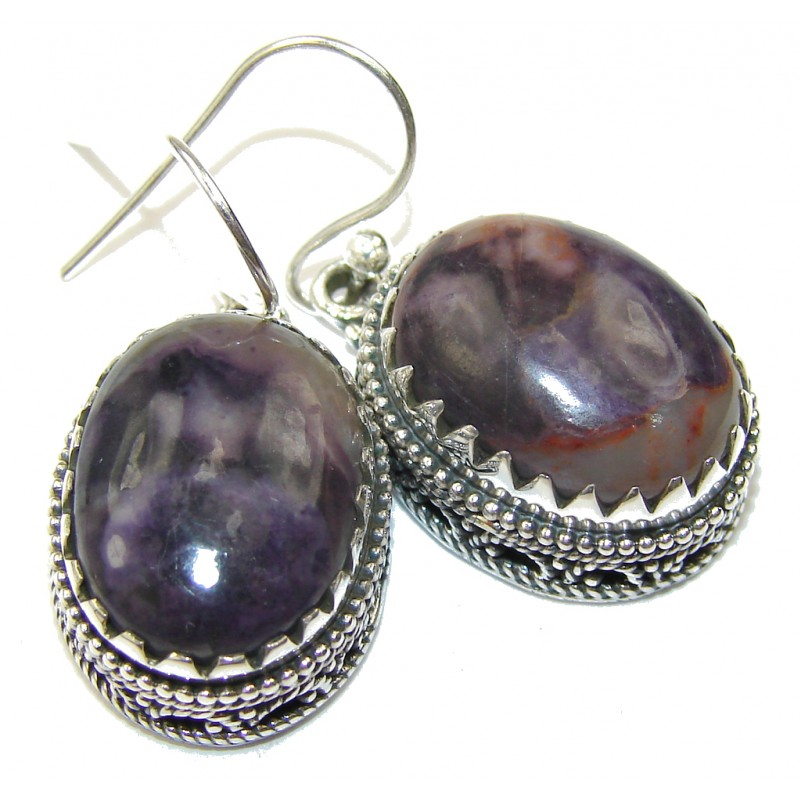 Amazing!! Purple Bertrandite Sterling Silver earrings