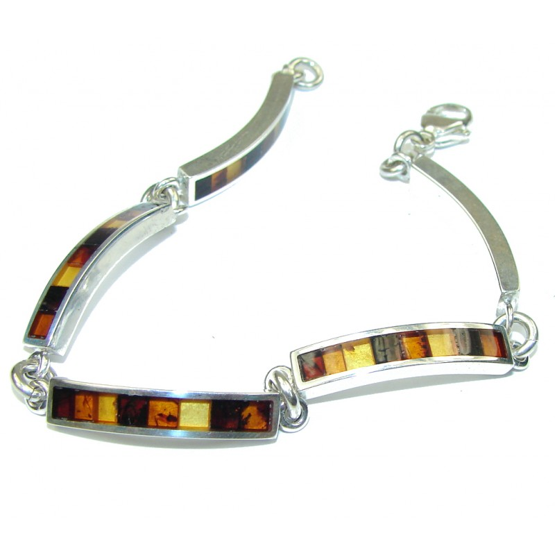 Natural Beauty! Mosiac Polish Amber Sterling Silver Bracelet