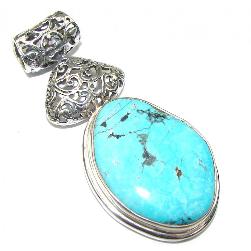 Sleeping Beauty! Blue Turquoise Sterling Silver Pendant