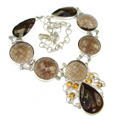 Duality In Brown! Smoky Topaz & Agate Druzy Sterling Silver necklace