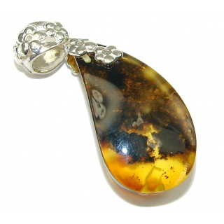 Stylish AAA Baltic Polish Amber Sterling Silver Pendant