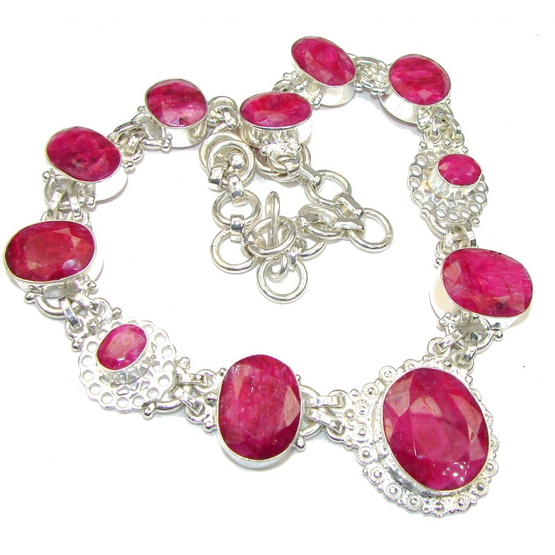 Awesome! Pink Ruby Silver Overlay Necklace