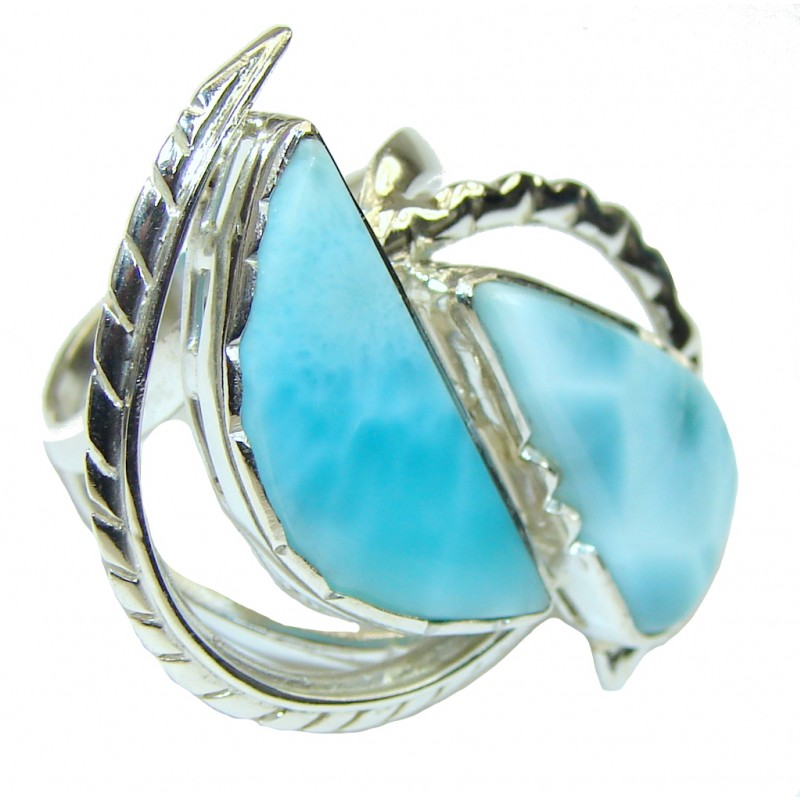 Beautiful AAA Blue Larimar Sterling Silver Ring s. 9