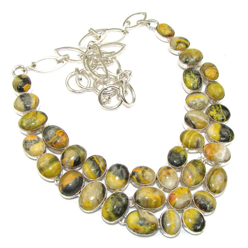 Secret Beauty! Yellow Bumble Bee Jasper Sterling Silver Necklace