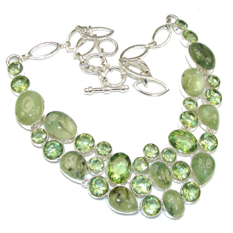 Heavenly Love!! Green Moss Prehnite Sterling Silver necklace